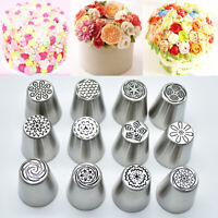 12X Russian Tulip Flower Icing Piping Nozzle Tips Cake Topper Decor Baking Tools