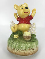 Vtg 70's Disney Winnie the Pooh Music Box Plays Pooh Theme Song Japan Ceramic