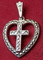 Nun's Vintage Estate Collection Sterling Silver & Marcasite Heart Cross Pendant