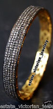 Artdeco Estate 7.65Cts Natural Rose Cut Diamond Silver Bangle Bracelets Jewelry