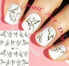 Nail Art Stickers (#Y049 ORO)-Decals-Water Transfer Adesivi FARFALLE-Manicure!