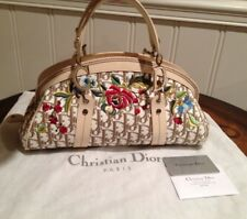 Authentic Christian Dior Beige Monogram Logo Canvas Embroidery Satchel Handbag