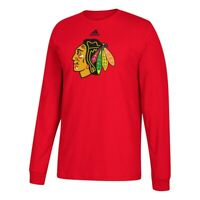 Chicago Blackhawks NHL Adidas Men's Red Team Primary Logo Long Sleeve T-Shirt