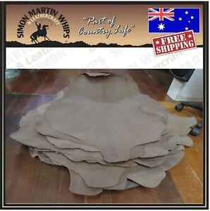 BRANDY Color VEG TANNED Kangaroo leather skin hide for plaiting whip making etc.