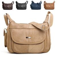 Ladies Leather Twin Zipped Shoulder Cross Body Handbag with Adjustable Strap