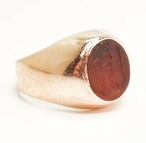 Antique 14K Rose Gold Ancient Carnelian Intaglio Roman Goddess Salus Ring
