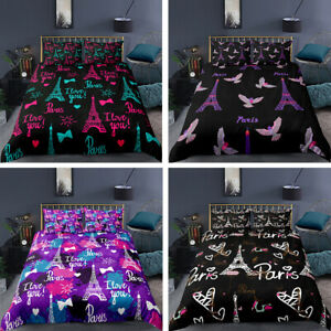 Paris Eiffel Tower 3D Bedding Set 2/3PCS Duvet Cover & Pillowcase Gift