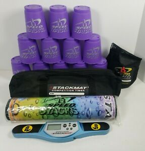 Speed Stacks Lot w/12 Purple Cups, Stack Mat, Timer, Carrying Cases