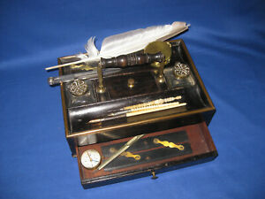 Rare Antique George III Wood Brass Writing Table Stand Inkwell Dip Pen Holder.