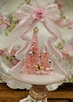 Shabby Chic Pink Roses Victorian Bottle Brush Tree Snow Christmas Ornament