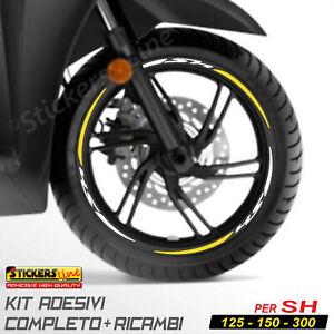 Adesivi Cerchi Honda SH 125 150 300 strisce adesive ruote BIANCO GIALLO Racing 3
