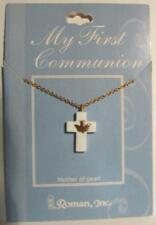 My First Communion Mother of Pearl Cross Dove Roman, Inc - New Other, USA Made