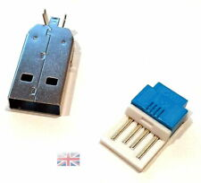 ONE USB 4 Pin Type-A Male NO Solder Connector Plug Metal Cover UK STOCK