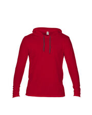 Anvil Men's Long Sleeve Casual Hooded T Shirt 2xl Red/dark Grey