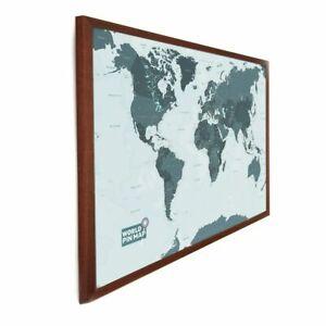 Laminated World Pinboard Map (Mono-tone) 76 x 51cm (Dark wood frame)