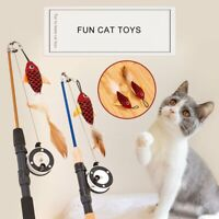Retractable Cat Toy Fish Type Telescopic Feathers Cat Stick Pet Toy Cat Rods