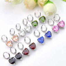 Heart Fire Kunzite Morganite Peridot Onyx Zirconia Topaz Silver Dangle Earrings