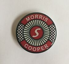 40mm MORRIS COOPER S RED GEL RESIN DOMED CUSTOM  BADGE WHEEL CAP