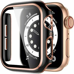 For Apple Watch SE 40mm 44mm 42mm 38mm Two-Color Hard Case With Screen Protector