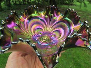 Imperial SCROLL EMBOSSED ANTIQUE CARNIVAL GLASS MID-SIZED RUFFLED BOWL~PURPLE!