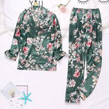 Womens Ladies Long Sleeve Satin Print Pyjamas Pyjama PJ Nightwear Set Homewear