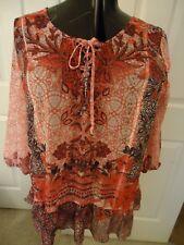 Macy's Style&Co pink semi-sheer ruffle hem top, lng slv, l