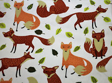 Fabric Animals Foxes White Drill Cotton HALF METRE x 112cm Fox Quilting Material