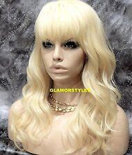 Human Hair Blend Beach Wavy With Bangs Bleach Blonde Full Wig Hair piece #613