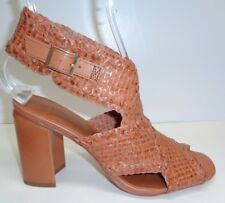 H Halston Size 7 M PENELOPE Brown Woven Leather Heels Sandals New Womens Shoes