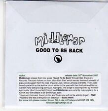 (DC40) Middleman, Good to be Back - 2007 DJ CD