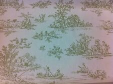 """FRYETT`S Provence """"Toile de Jouy"""" Olive Green Cotton Fabric, Curtain/Upholstery"""