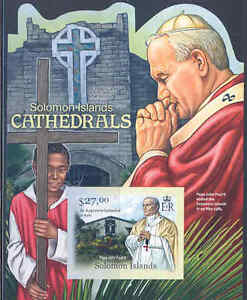 SOLOMON ISLANDS 2012 CATHEDRALS POPE JOHN PAUL II S/SHEET IMPERFORATED