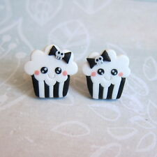 Halloween Costume Black and White Punk Kawaii Skull Bow Cupcake Girls Earrings