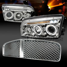 2006-2010 Dodge Charger Halo LED Chrome Projector Headlights+Chrome Hood Grille