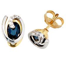 Ohrstecker 585 Gold Gelbgold blaue Saphire Ohrring mit diamantene