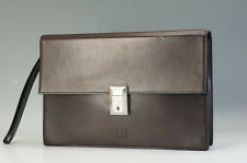 Authentic dunhill Clutch Bag 28 cm Dark Brown Leather w/o Key Free Ship 969f06