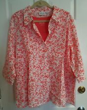 Denim & Co. 3x NWT Coral Crinkle Burnout Woven Shirt w 3/4 Sleeves & Knit Tank