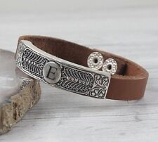 Turkish Handmade 925 Sterling Silver Personal Letter Leather Mens Mans Bracelet