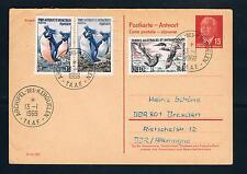 DDR, Ganzsache Pieck 15, Antwortkarte mit TAAF, seltene Antarktisfrankatur