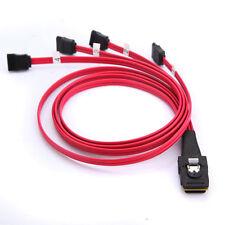 Mini SAS 4i SFF-8087 36-Pin to 4 SATA 7-Pin HDD Hard Drive Splitter Cable 10Gbps