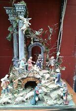 presepe napoletano tempio x pastori 10 12 cm crib 30x25 h50cm  nic senza pastori
