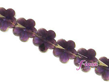 Glass Flower Shaped Beads Crystal Purple Faceted 15mm 13 pcs DIY Jewelry