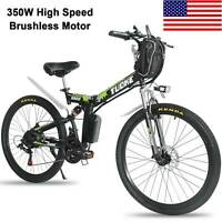 "26"" Electric Folding Bike Mountain Bicycle EBike SHIMANO 21Speed 36V Li-Battery"