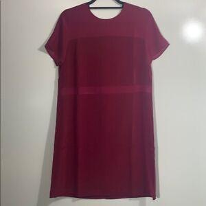 PARIS SUNDAY Women's Short Sleeve Sheer Inset T-Shirt Dress Berry XS Brand New