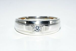 .20CT MENS NATURAL ROUND CUT WHITE TOPAZ SILVER BAND SIZE 10.5