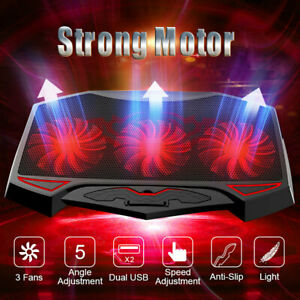 Laptop Notebook Cooling Cooler Pad Stand Mat Holder With 2 USB 3 Fan LED