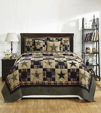 Revere Patchwork Quilt Set King Size Country Primitive Black Tan Star