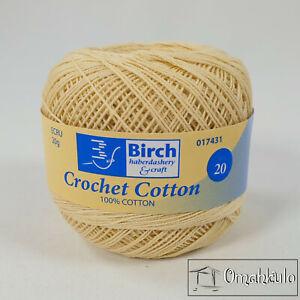 BIRCH - Crochet  & Knitting Cotton - ECRU - 20g Ball - 100% Cotton