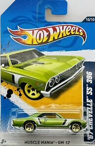 2012 Hot Wheels Green 1967 Chevelle SS Muscle Mania Series 10/10 Card #110/247