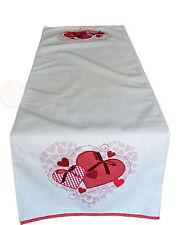 Tischläufer 45x150 cm mit roten Herzen und Schleife Tischdecke Mitteldecke